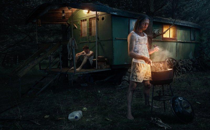 cinematic,portrait,friends,dark,moody,night,grill,trailer Friendsphoto preview