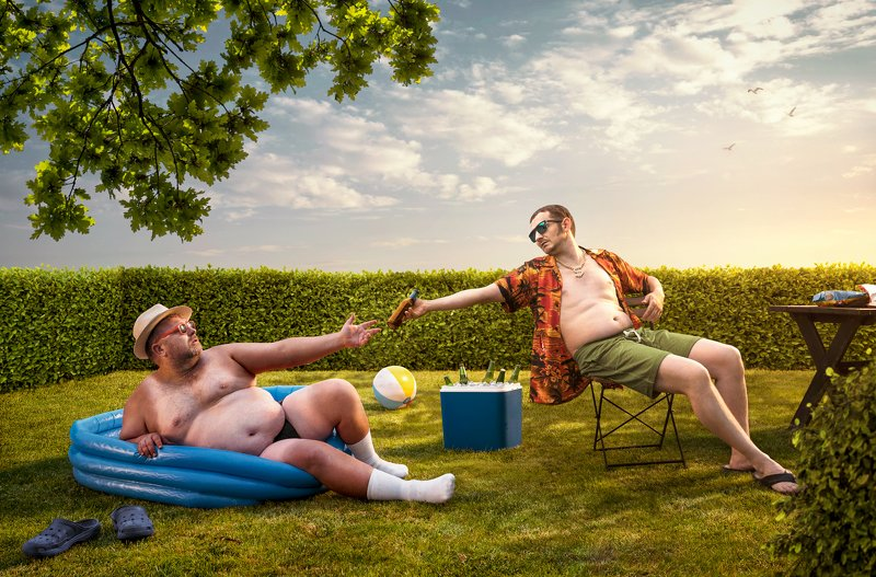 men,beer,backyard,back,yard,humor,funny,summer,grill,party,fat,man,swimming pool, Back Yardphoto preview