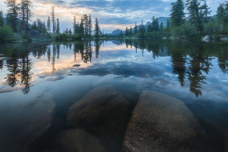 ергаки, озеро лазурное, саяны, красноярский край, лето, отражения, пейзаж, горы, кедры, закат, вечер Лазурноеphoto preview