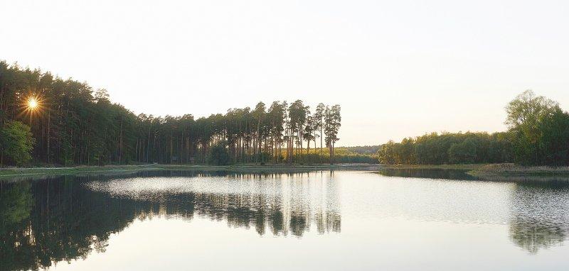озеро, закат, лесное озеро, лес, сосны, солнце photo preview