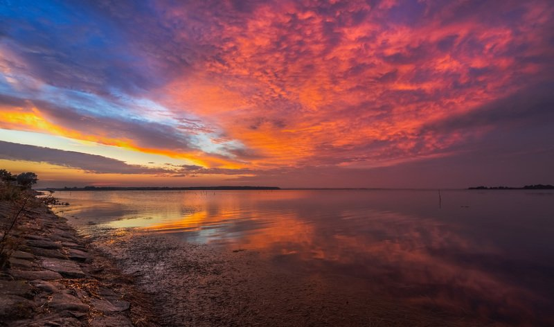 дания, вечер, закат, берег, море, отражения, Вечер на берегу моря. Дания.photo preview