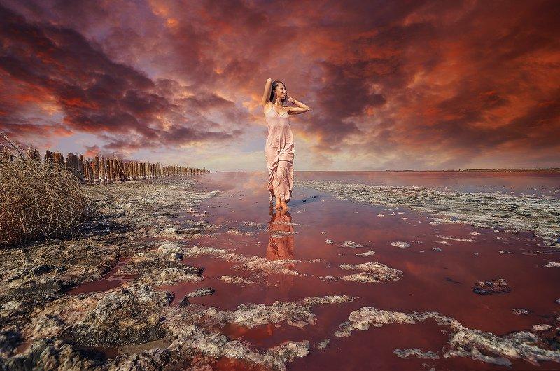 pink lake, pink, lake, beautifull , pink dress, crimea photo preview