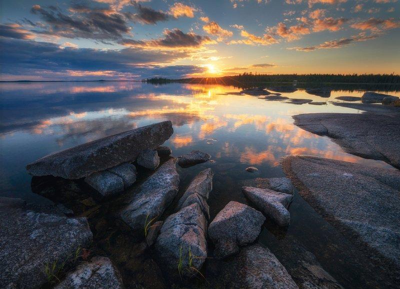 карелия, север, топозеро, закат Вечер на Топозереphoto preview