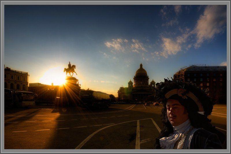 питер, санкт-петербург, исаакиевская площадь, закат Питерphoto preview