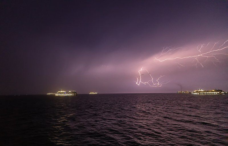 Cruise Ships , Storm , lighting , night storm  photo preview
