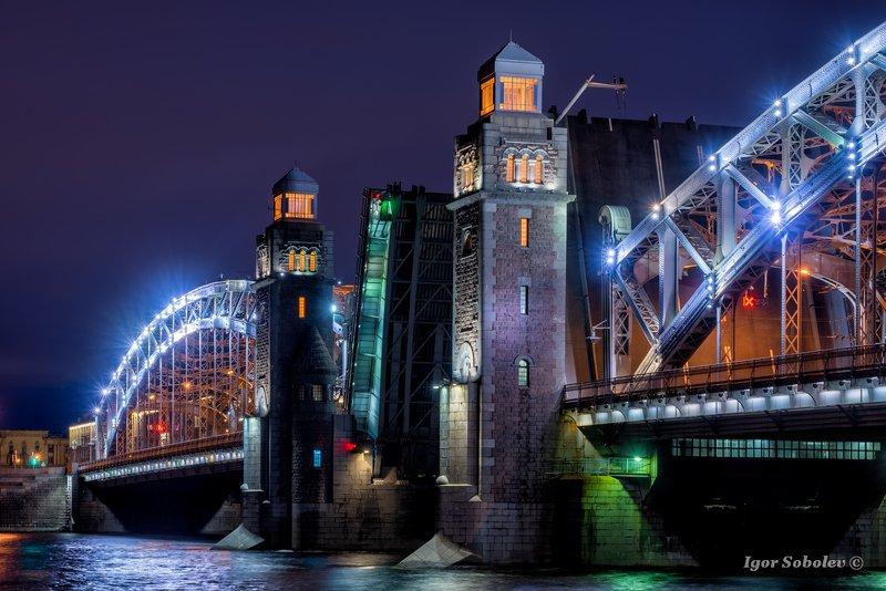 большеохтинский мост, санкт-петербург, мост, ночь Большеохтинский мостphoto preview
