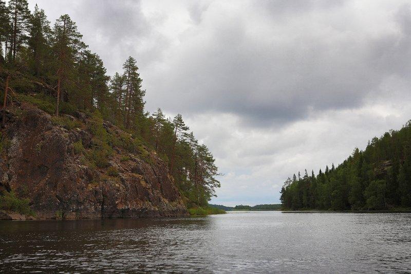 карелия, скалы, сосны, река, озеро, облака, кереть Белые ночи на озере Варацкомphoto preview