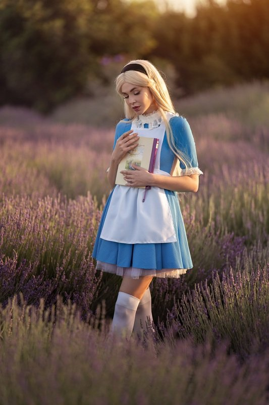 Алис в стране чудес мечты лаванда сказки девушка Алисаphoto preview