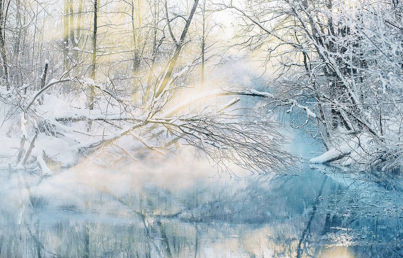 зеленый ключ, Марий Эл, рассвет, зимний пейзаж, незамерзающие ключи photo preview