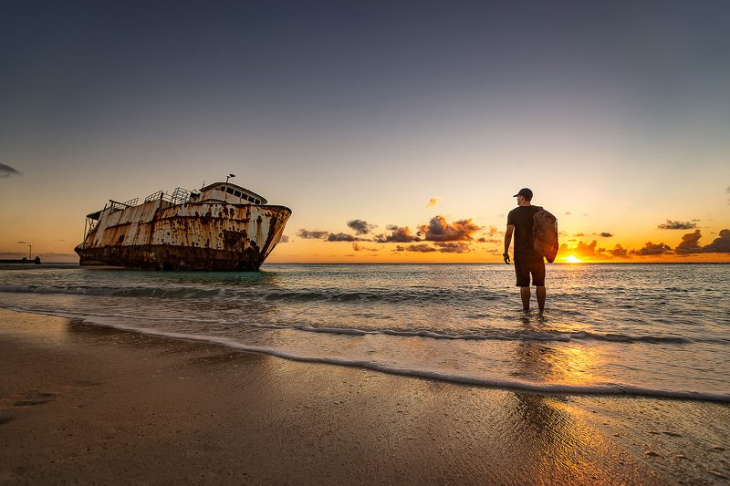 sunken ship , beach , sunset , adventure , old ship , travel , Caribbean photo preview