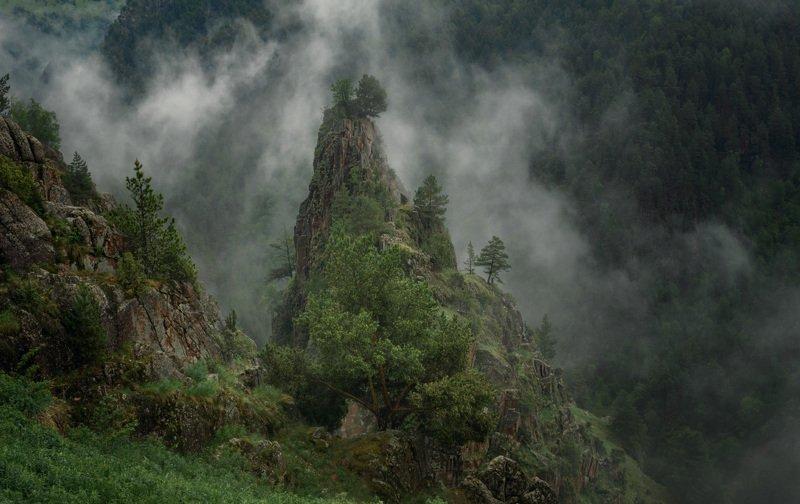 горы, ущелье, кбр, природа, кавказ, пейзаж, туман, ***photo preview