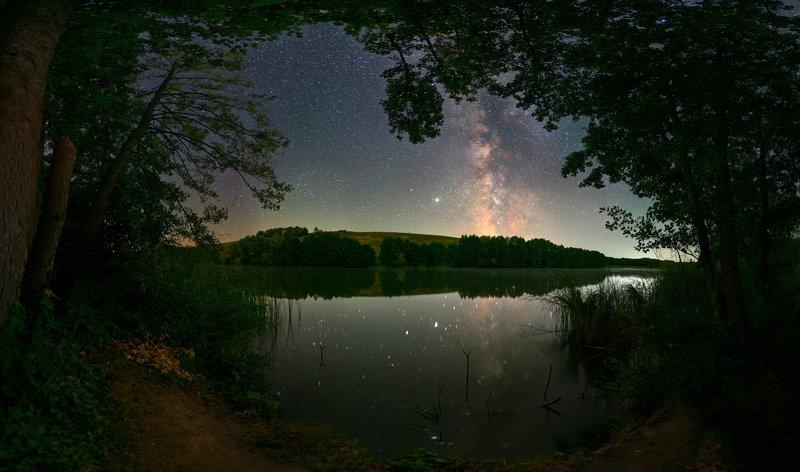ночь, звезды, млечный, путь, stars, milkyway, night, pond, reflections, пруд, отражения, summer, лето, холодный_яр The place where i like dreaminphoto preview