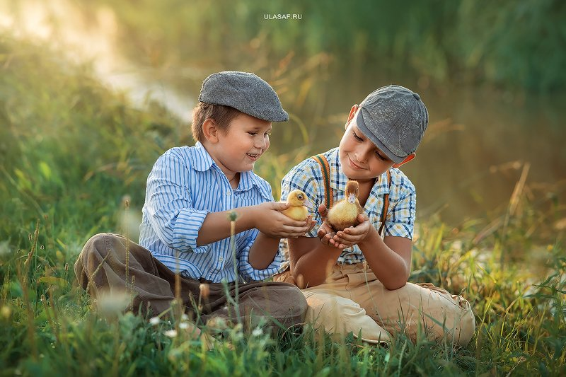 art photo, лето, summer, закат, sunset, портрет, ребенок, дети, животное, утенок, утята, ducklings, duck, people, друзья, happy, 105mm, kid, children, beautiful, magik, волшебство ***photo preview