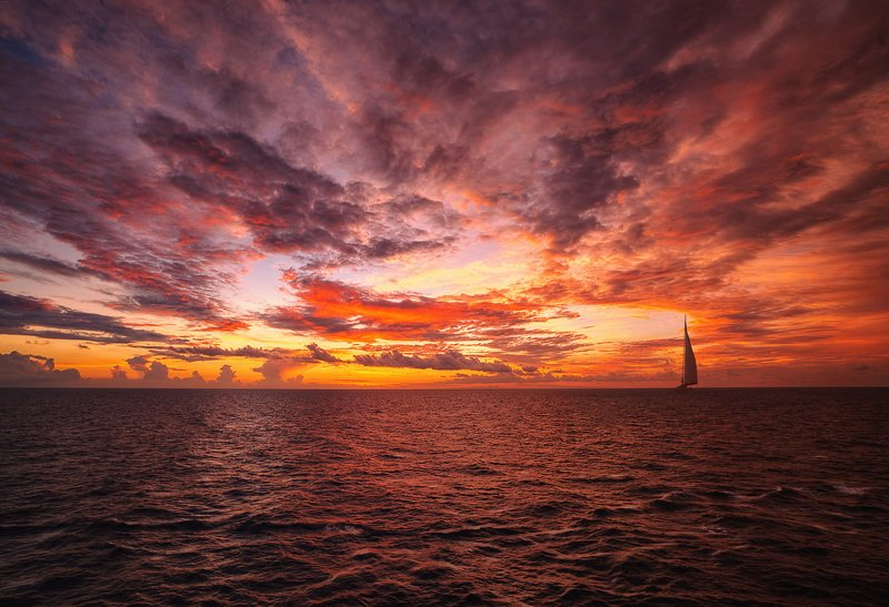 sea , sunset , sky , boat, beutiful sky photo preview
