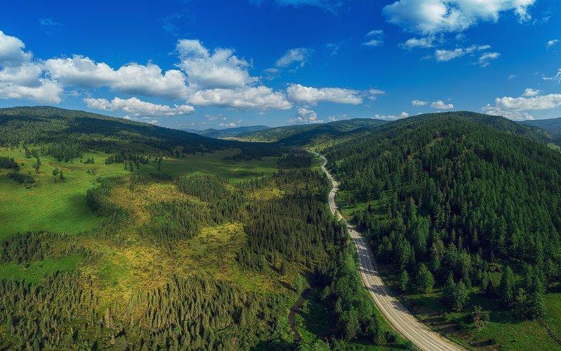 altai, road, aerial Altai roadphoto preview