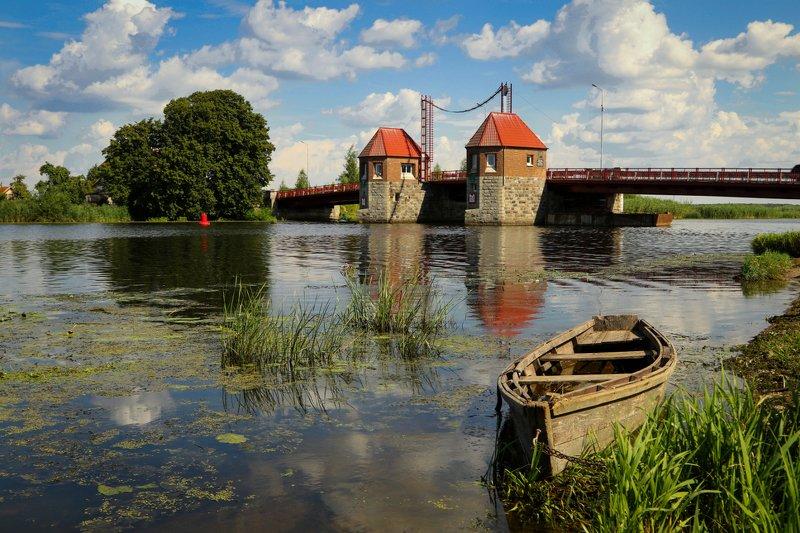 природа, река, мост, лодка Мостphoto preview