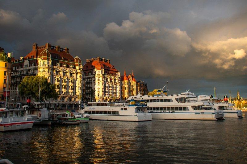 Стокгольм, закат, вода, радуга, облака, Балтика, гроза Предгрозовой Стокгольмphoto preview