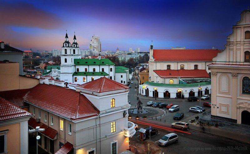 беларусь, город, минск, вечер, фотосфера-минск Сердце старого городаphoto preview
