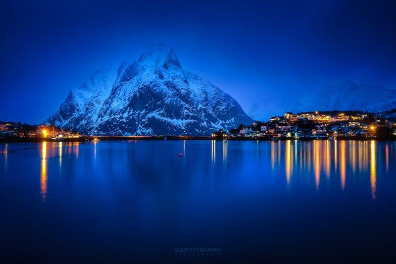 lofoten, norway, winter, mirror, water, blue hour, lights Зимний вечер на Лофотенахphoto preview