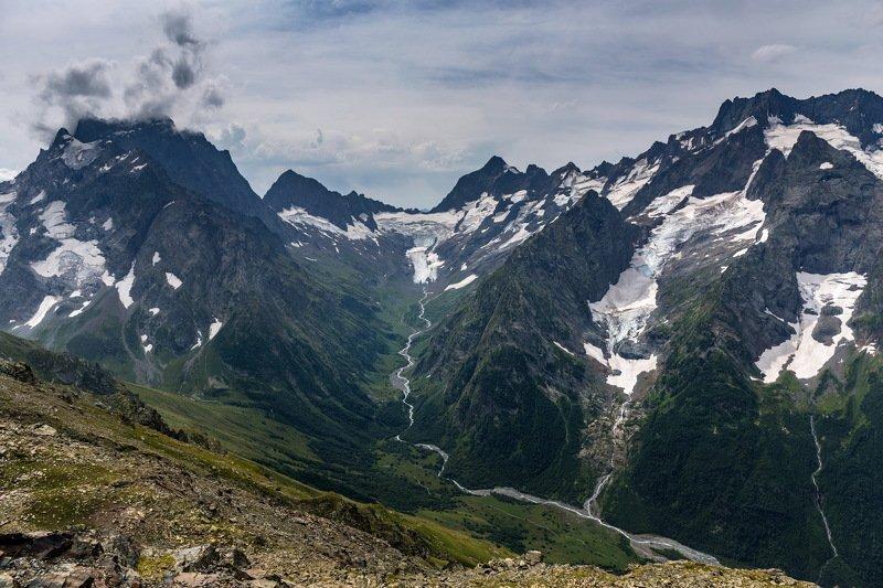 landscape, mountains, russia, dombai Mountainsphoto preview