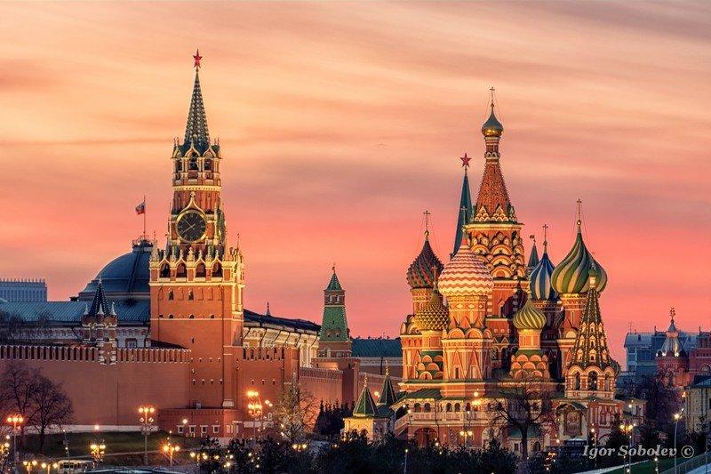 кремль, закат, москва,собор василия блаженного Кремль на закатеphoto preview