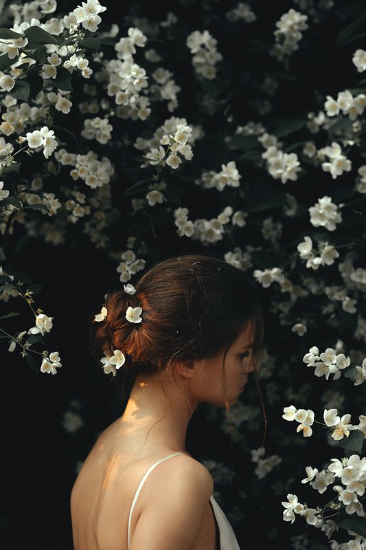 девушка, жасмин, цветы Цветениеphoto preview