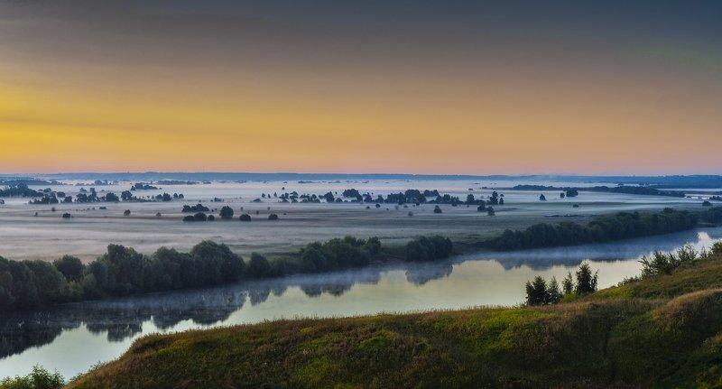 рассвет,туман,природа,пейзаж,лето,россия,красота Рассвет на р.Окаphoto preview