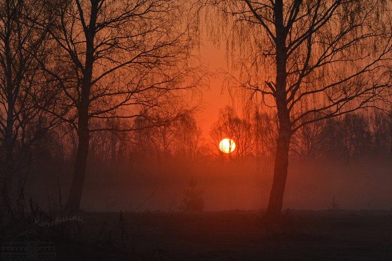 пейзаж, туман, рассвет, акварель, деревня Встреча нового дняphoto preview