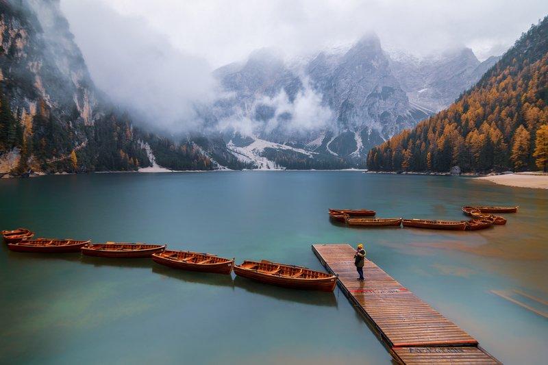 dolomites, lago di braies, autumn, landscape, boats, scenery Lago din Braiesphoto preview