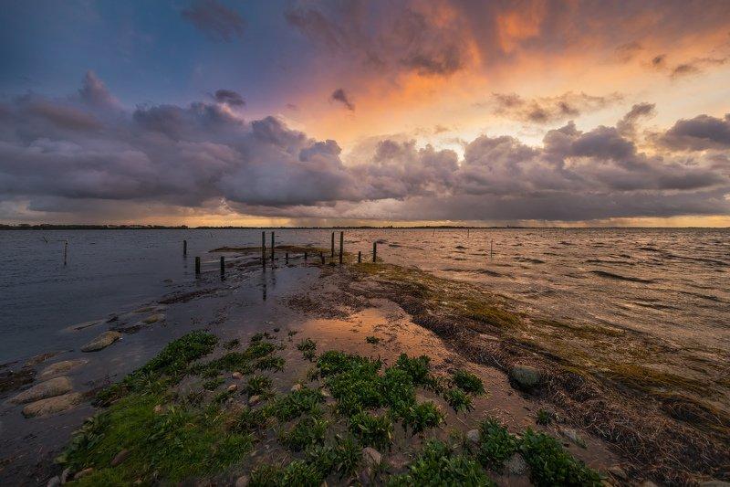 дания, туча, море, берег, закат, ДОЖДЕВАЯ ТУЧА НА ЗАКАТЕphoto preview