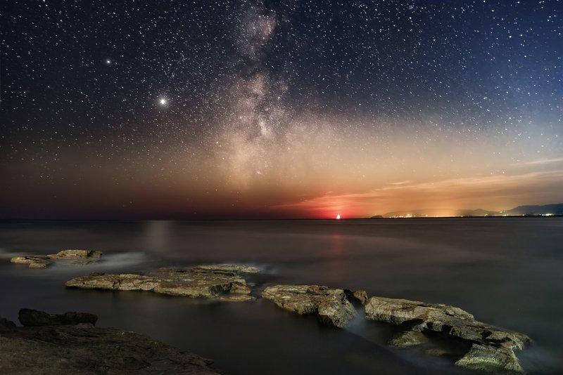 луна, море, млечныйпуть, юпитер, млечный путь, камни, ночь, звезды, крым, меганом \