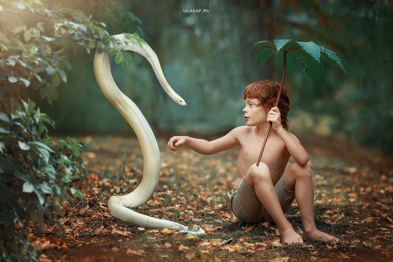 rain, дождь, осень, autumn, змея, питон, маугли, snake, python, портрет, ребенок, people, дружба, 105mm, kid, children, magik, волшебство Мауглиphoto preview