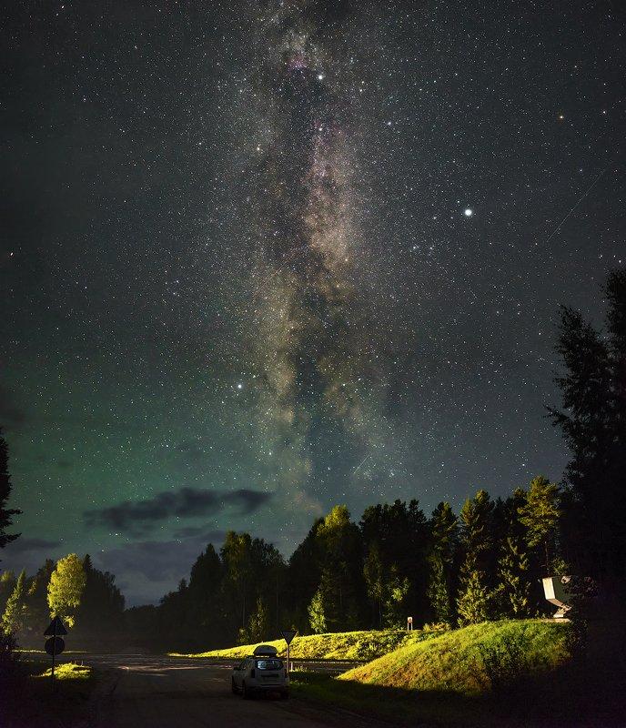 архангельская обасть, ночное фото, млечный путь, русский север, звезды, астрофото, астро Два путиphoto preview