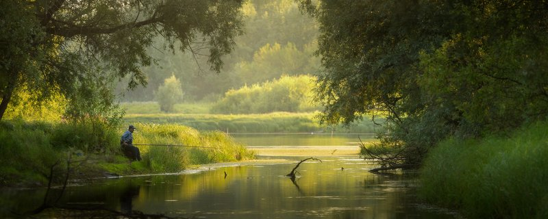 алтайскийкрай, алтай,  рыбак, рыбалка, река Августовским вечеромphoto preview
