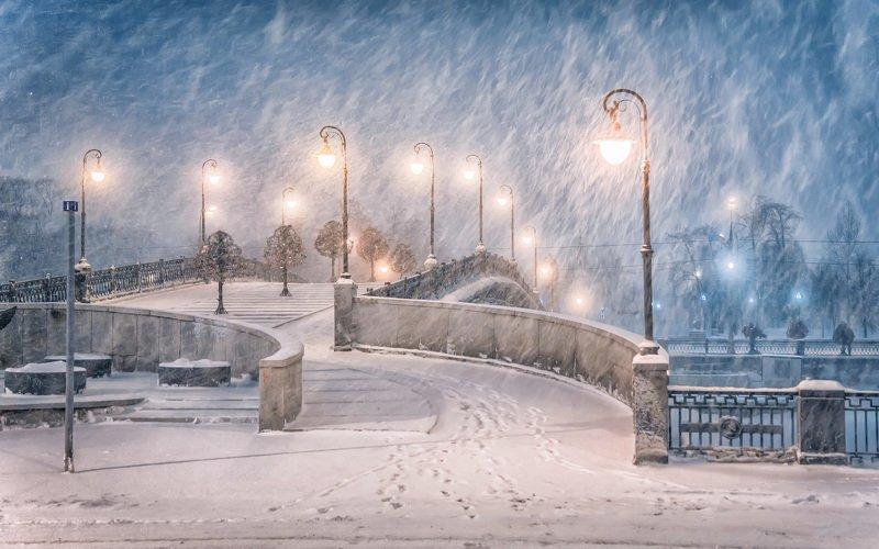 вечер, зима, снегопад, москва, город В городе снегphoto preview