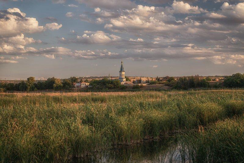 река, храм, природа, пейзаж, тростник, облака Нижняя Крынкаphoto preview