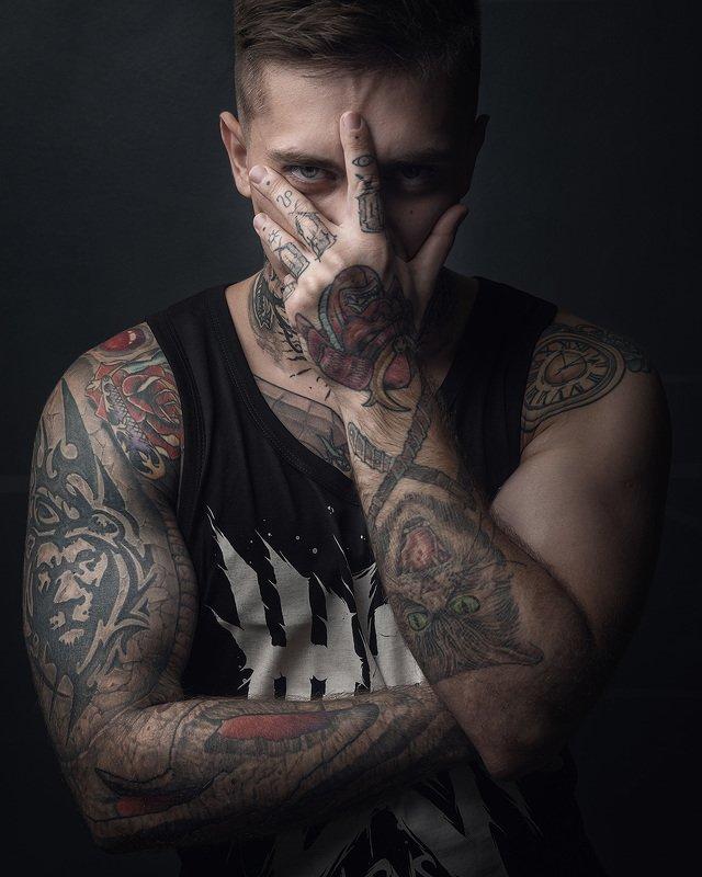 тату, лицо, мужской портрет, студия Татуphoto preview