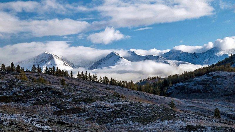 природа  алтай горы облака пейзаж путешествие тени курайский хребет утро Курайский хребет...photo preview