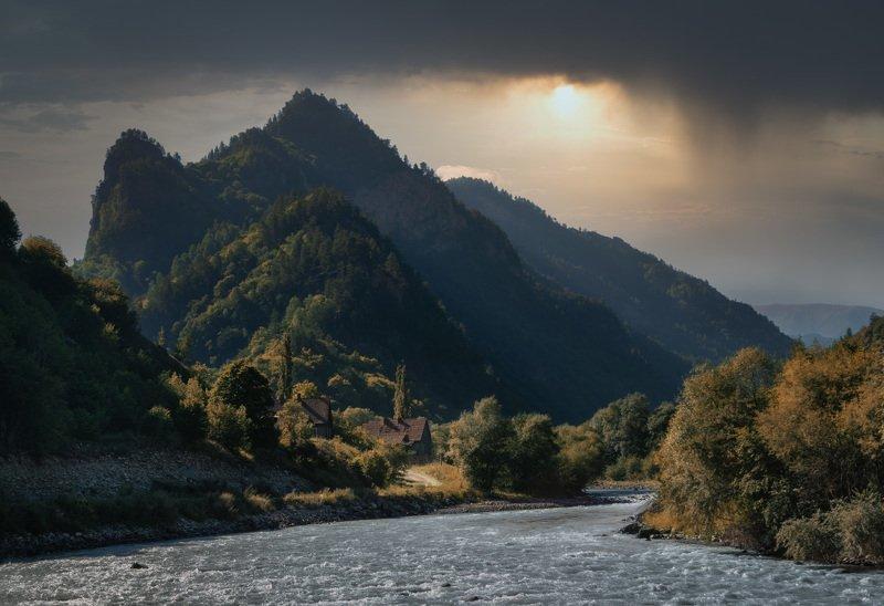 горы, природа, осень, кавказ, река, Осень не за горами...photo preview