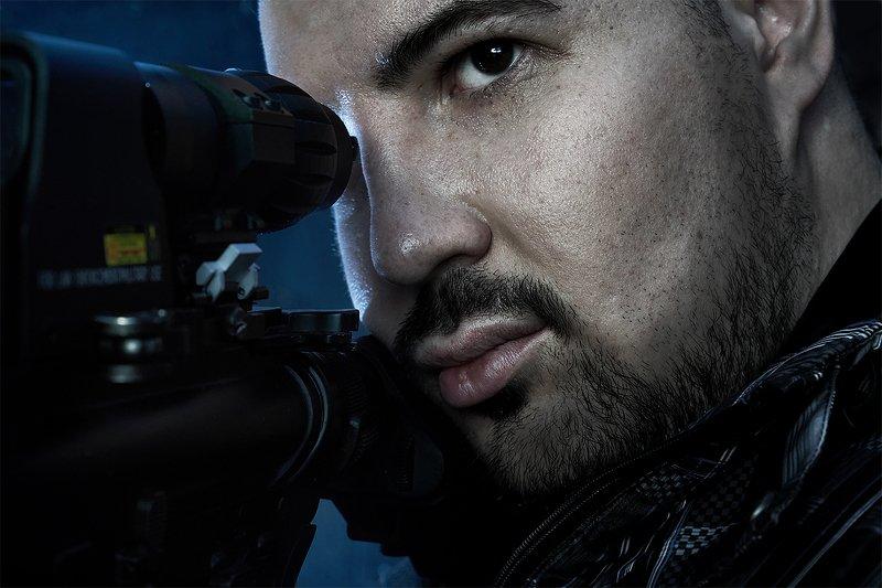 мужчина, ружье, автомат, оружие, портрет, снайпер  Снайпер photo preview