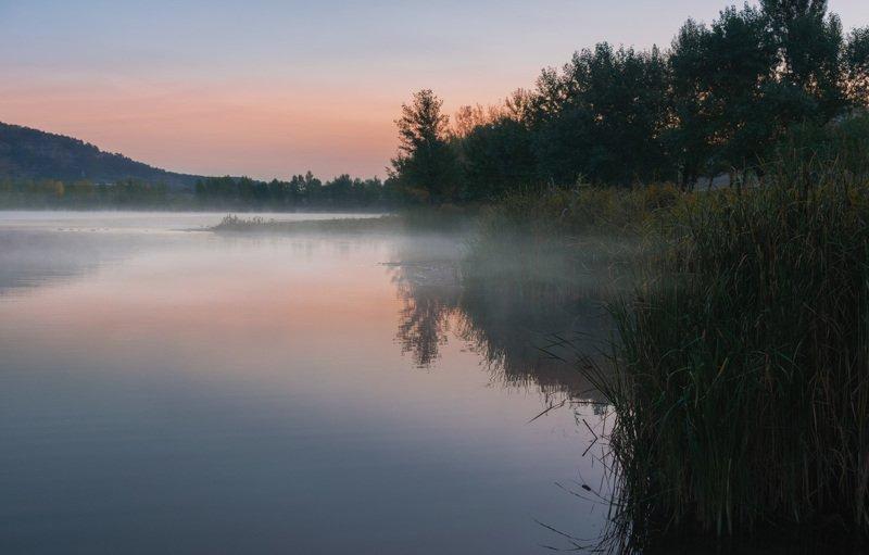 утро, рассвет, туман, вода, озеро, пейзаж, природа, осень, Утро туманное...photo preview